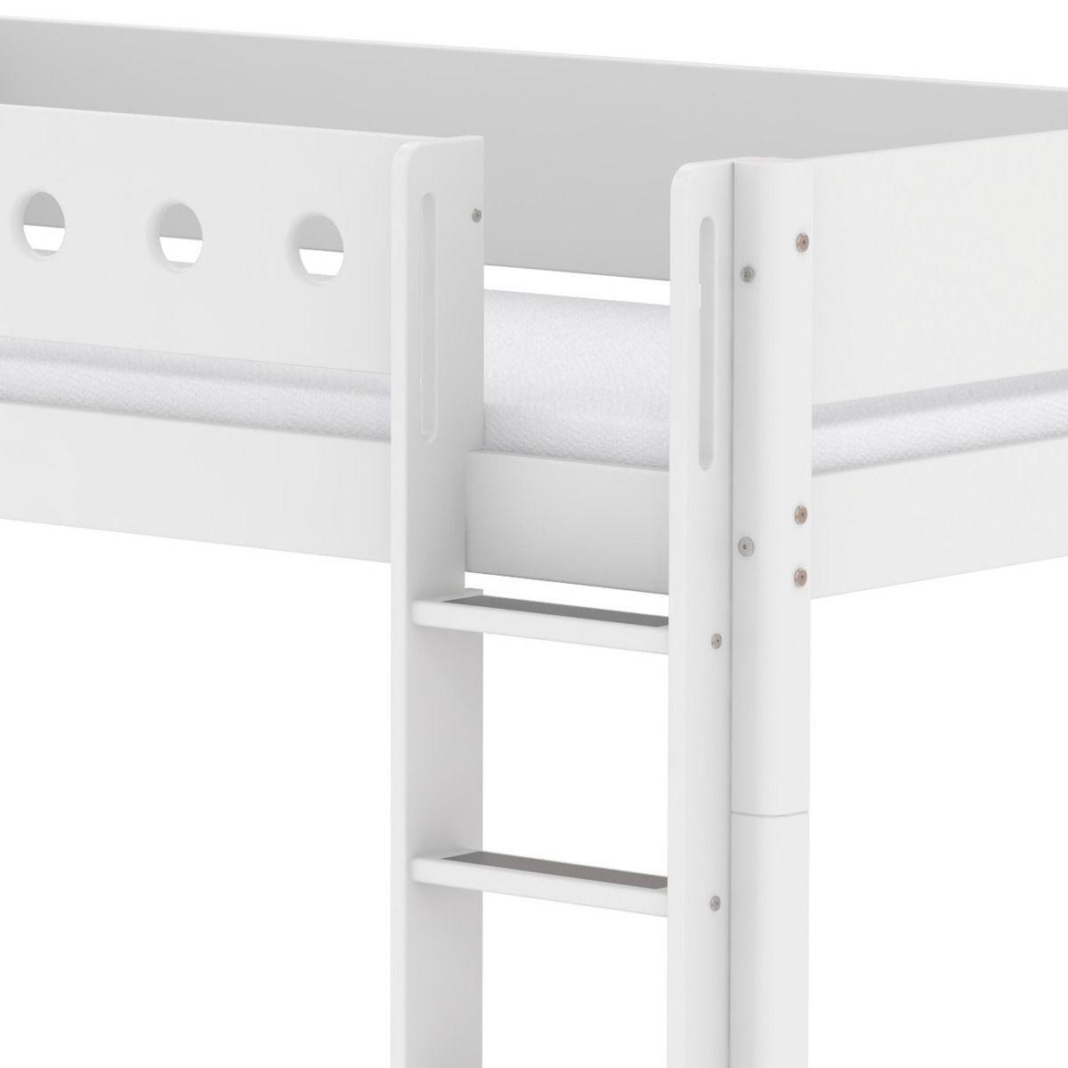 Lit évolutif enfant superposé 90x200 cm - échelle droite WHITE Flexa blanc