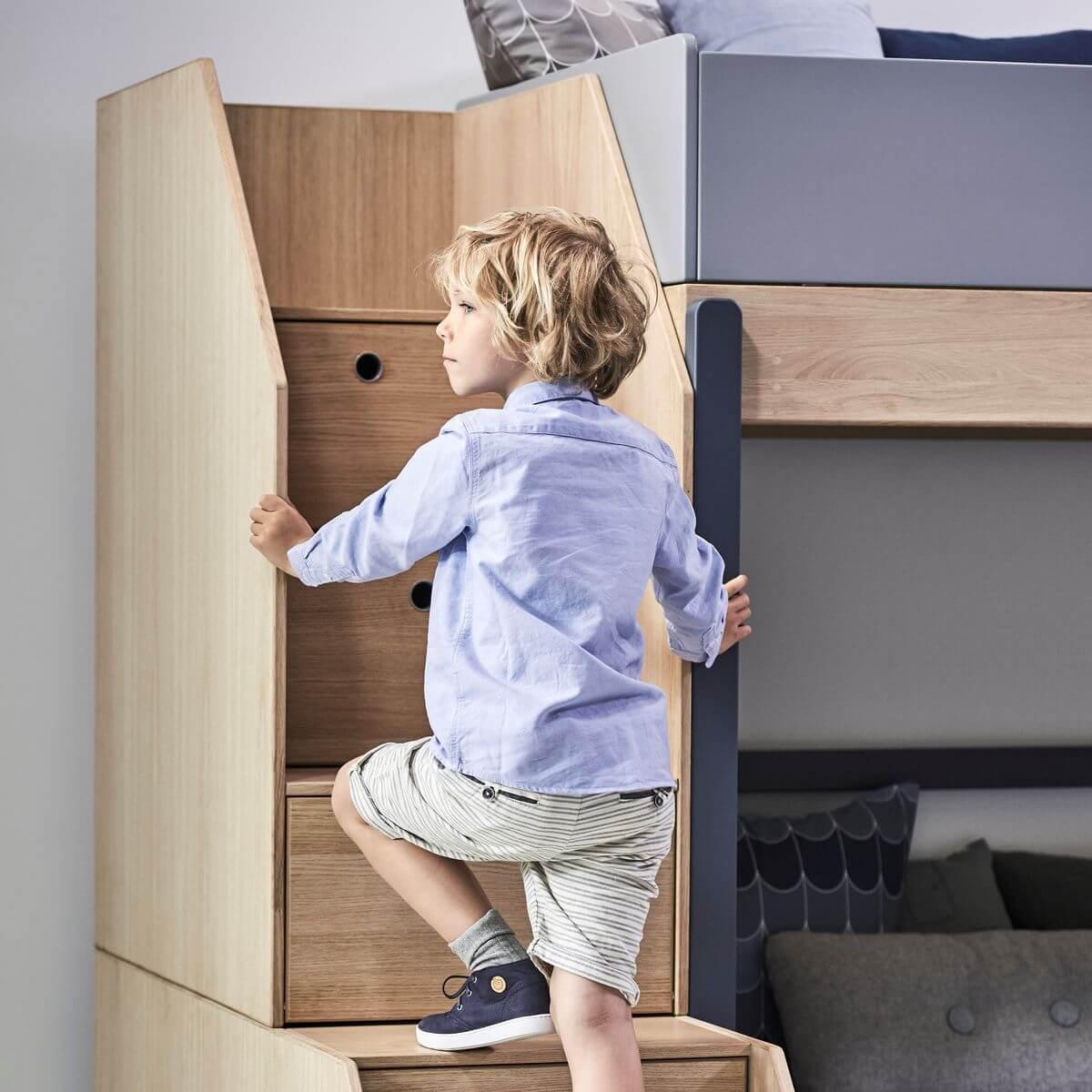 Lit Superposé Marche Escalier abitare-kids.lu | lit évolutif mezzanine 90x200cm escalier