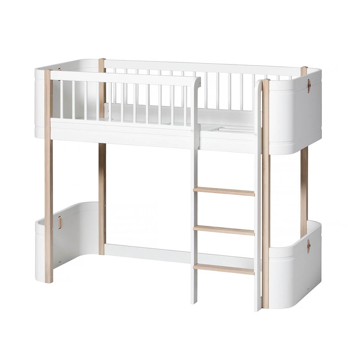 Lit évolutif mi hauteur 68x162cm MINI+ WOOD Oliver Furniture blanc-chêne