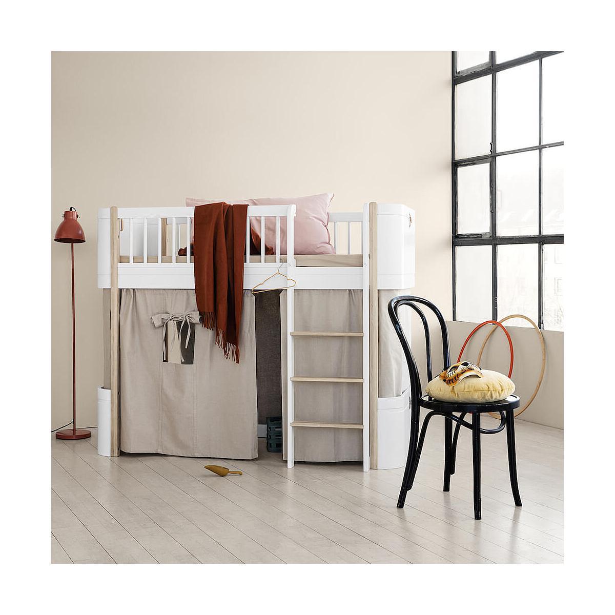 Lit évolutif mi hauteur 68x162cm WOOD MINI+ Oliver Furniture blanc-chêne
