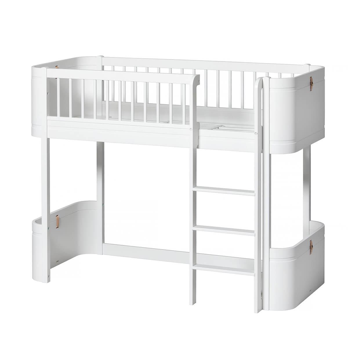 Lit évolutif mi hauteur 68x162cm WOOD MINI+ Oliver Furniture blanc