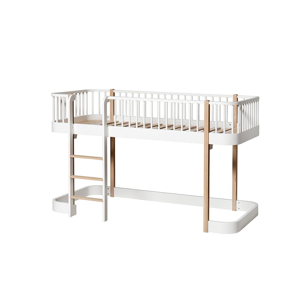 Lit évolutif mi hauteur 90x200cm WOOD ORIGINAL Oliver Furniture blanc-chêne