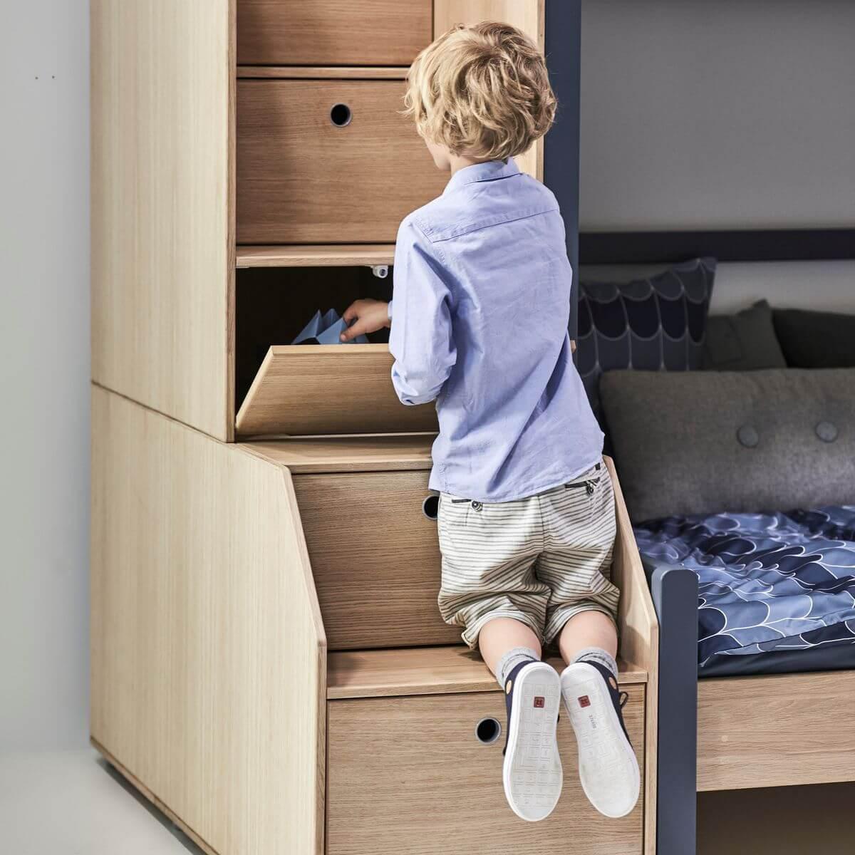 Lit Superposé Marche Escalier abitare-kids.lu | lit évolutif superposé 90/140x200cm