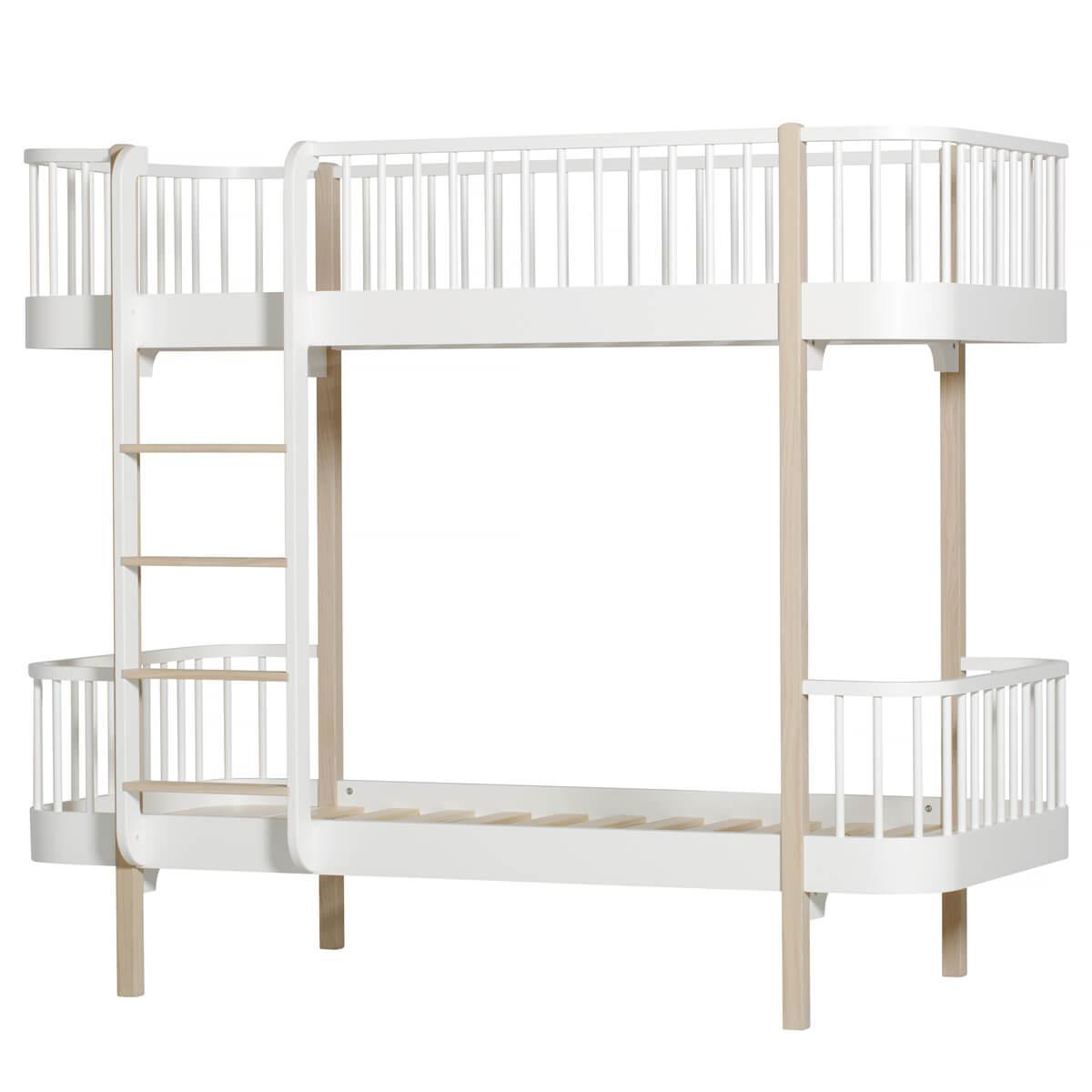 Lit évolutif superposé 90x200cm WOOD ORIGINAL Oliver Furniture blanc-chêne