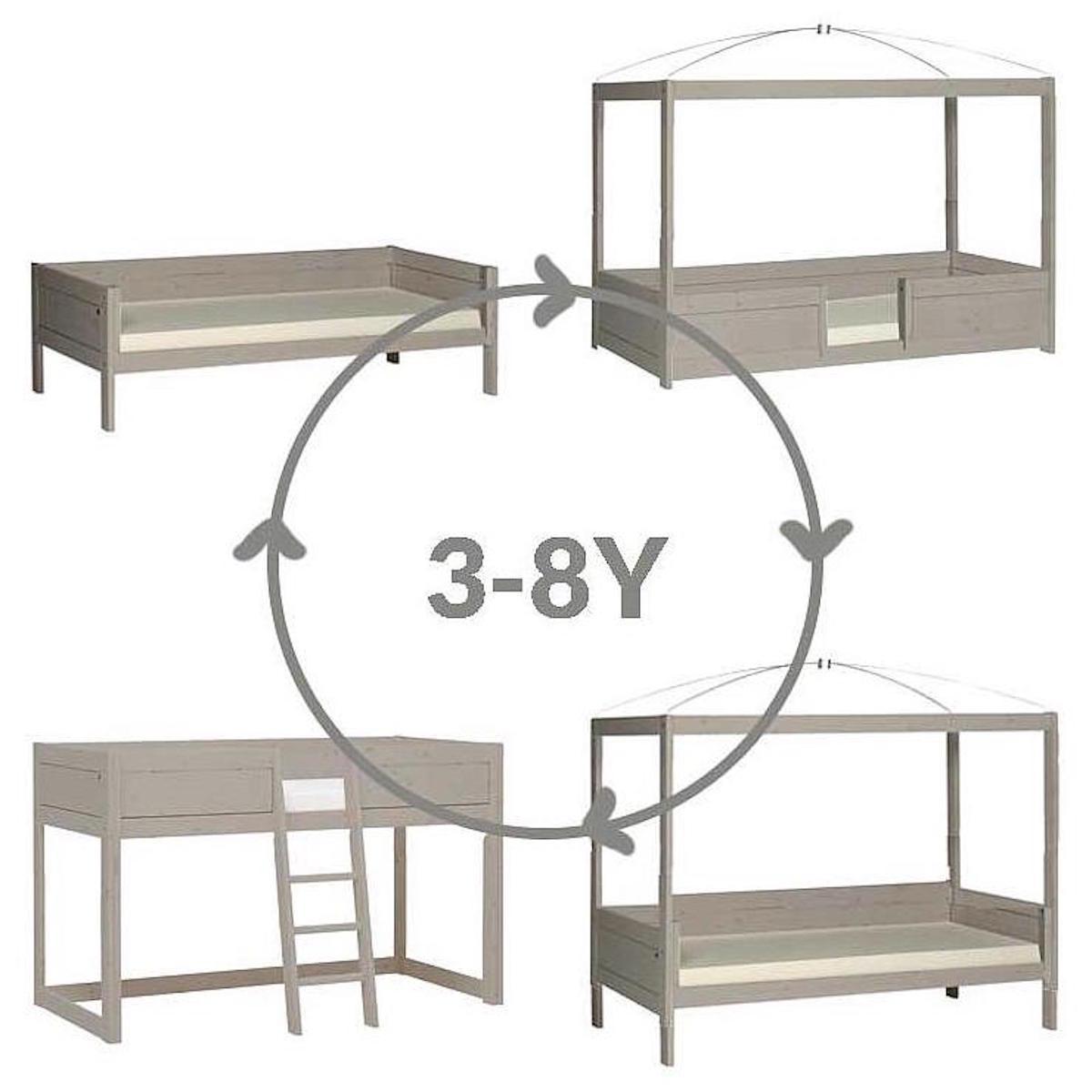 Lit évolutif-toit-rond 90x200cm 4 EN 1 Lifetime gris