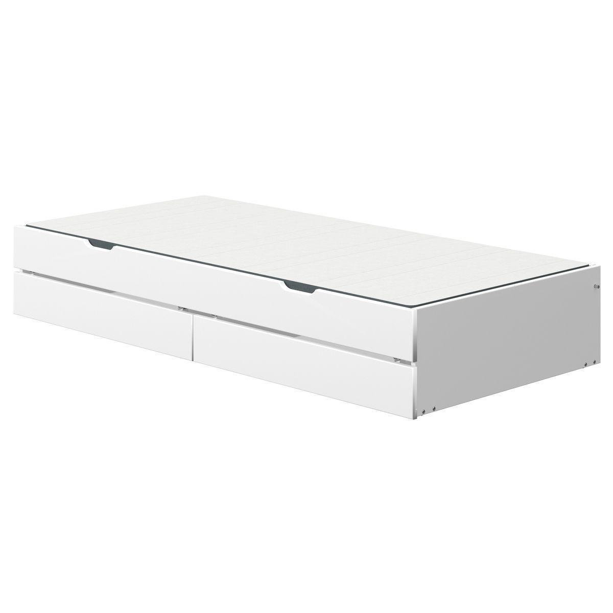 Lit gigogne-2 tiroirs 190cm NOR Flexa blanc