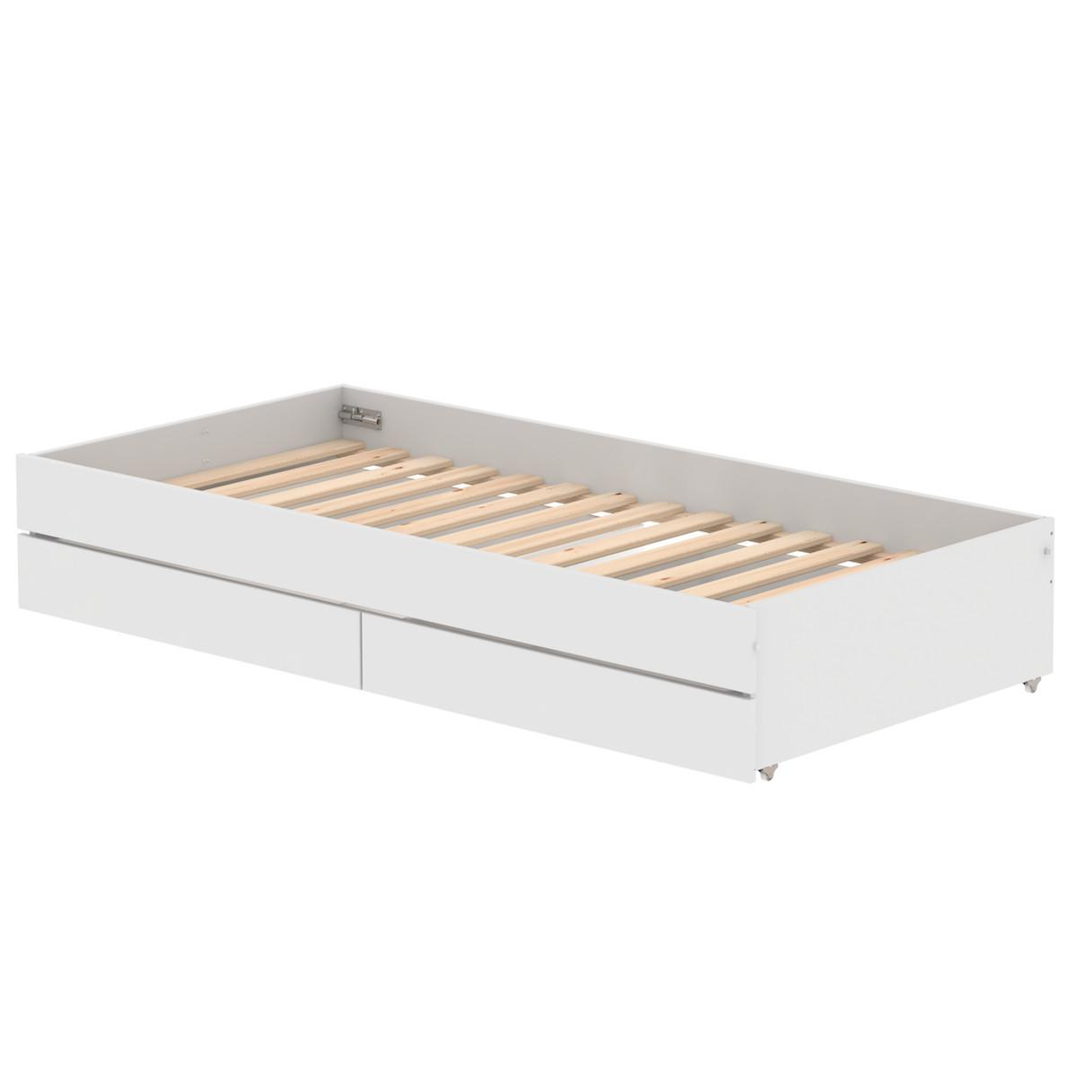 Lit gigogne 90x190cm WHITE Flexa blanc-naturel