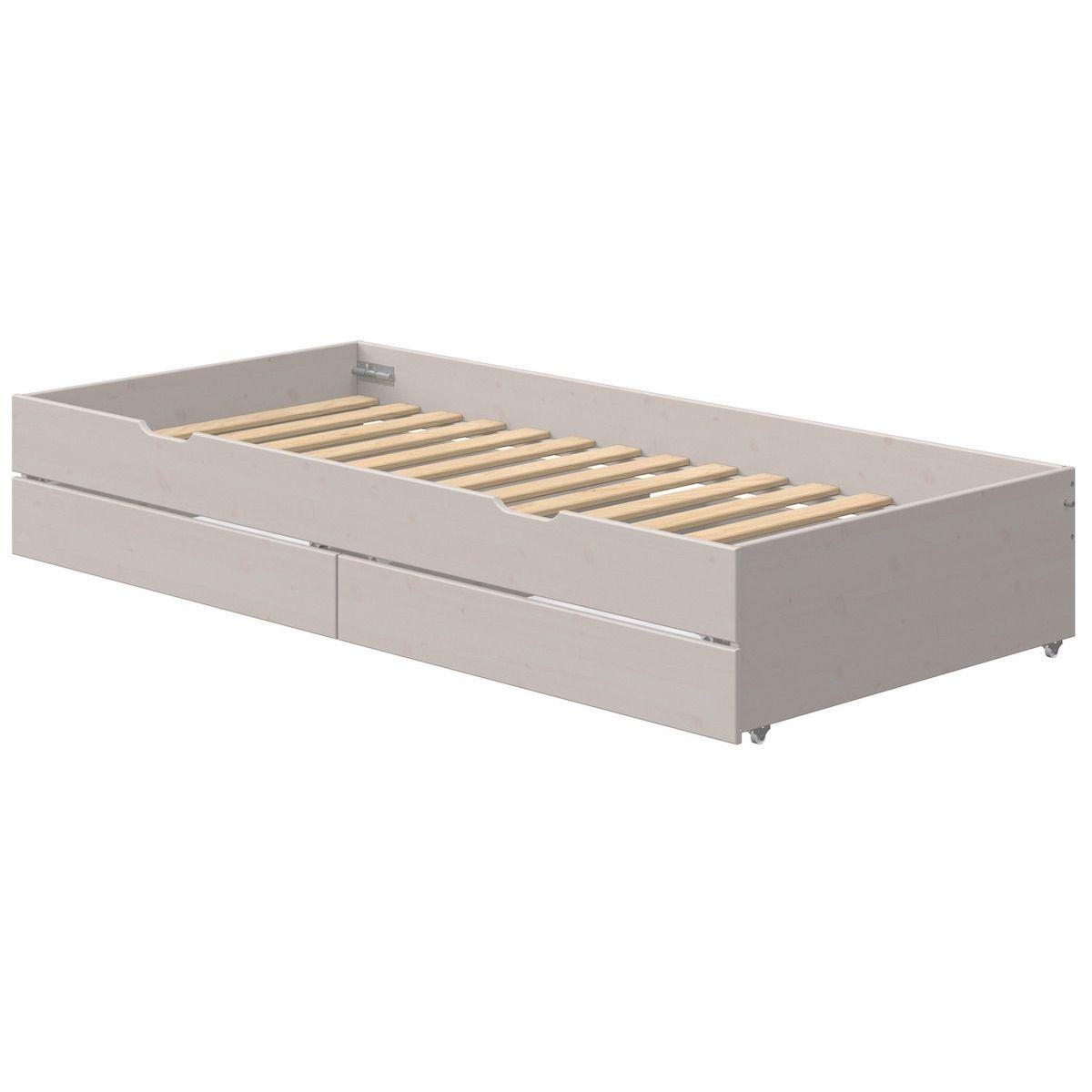 Lit gigogne 90x200cm 2 tiroirs lit bas CLASSIC Flexa grey washed