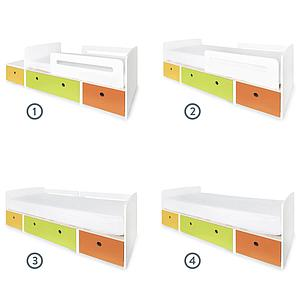Lit junior évolutif 90x150/200cm COLORFLEX Abitare Kids nectar yellow-lime-pure orange