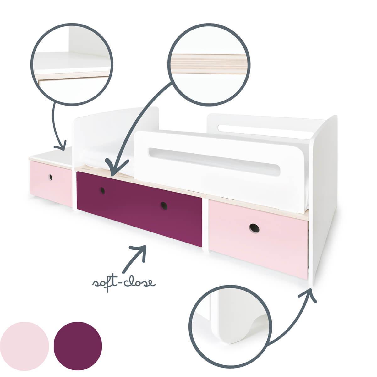 Lit junior évolutif 90x150/200cm COLORFLEX Abitare Kids sweet pink-plum-sweet pink