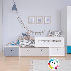 Lit junior évolutif 90x150/200cm COLORFLEX Abitare Kids warm grey-paradise blue-sky blue