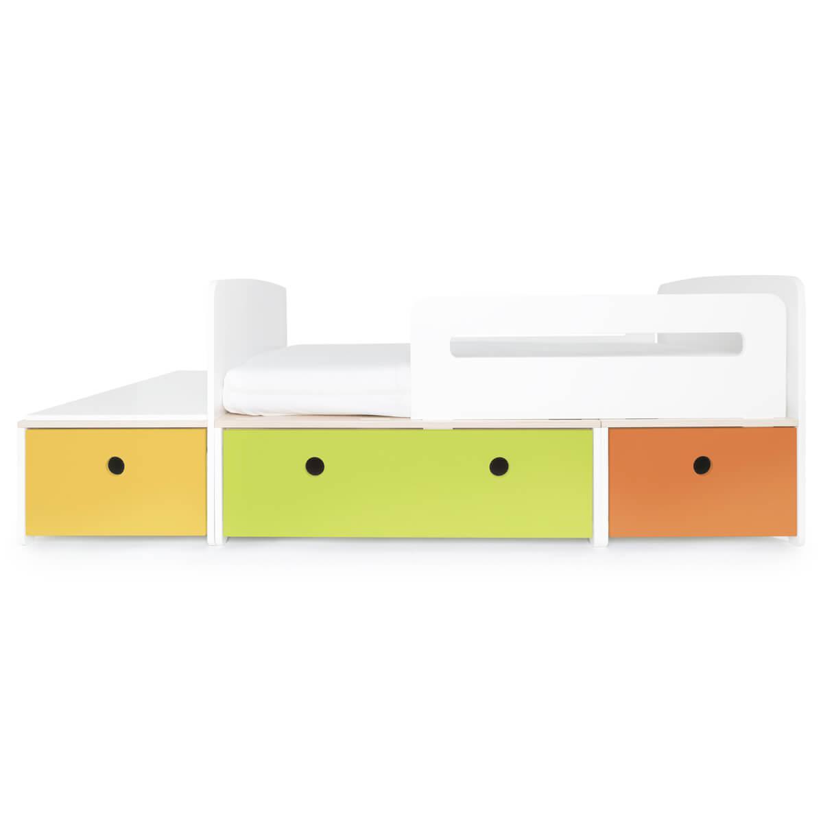 Lit junior évolutif 90x150/200cm COLORFLEX nectar yellow-lime-pure orange