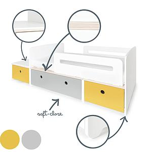 Lit junior évolutif 90x150/200cm COLORFLEX nectar yellow-pearl grey-nectar yellow