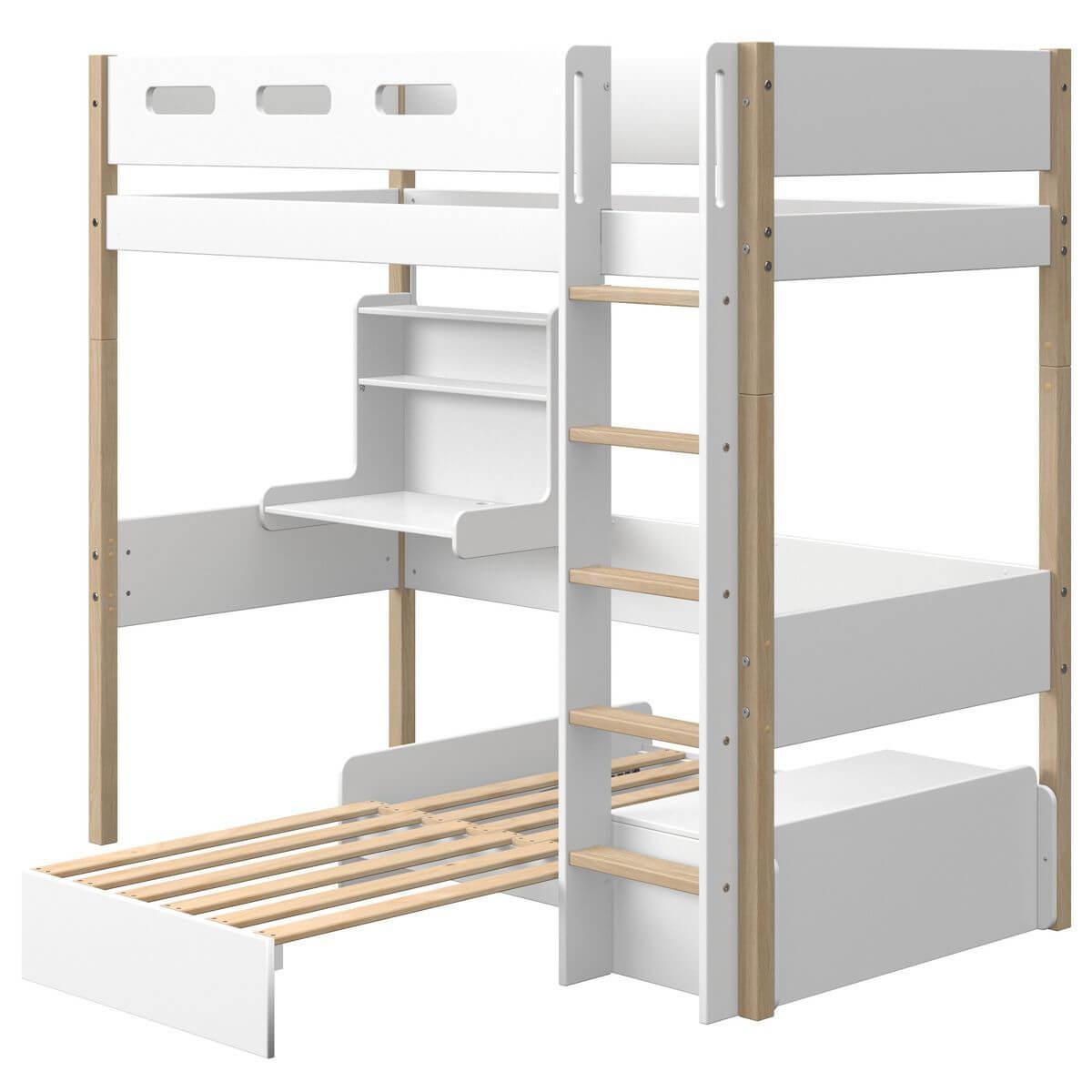 Lit mezzanine 200x90cm bureau Click-On module de couchage casa NOR Flexa chêne-blanc