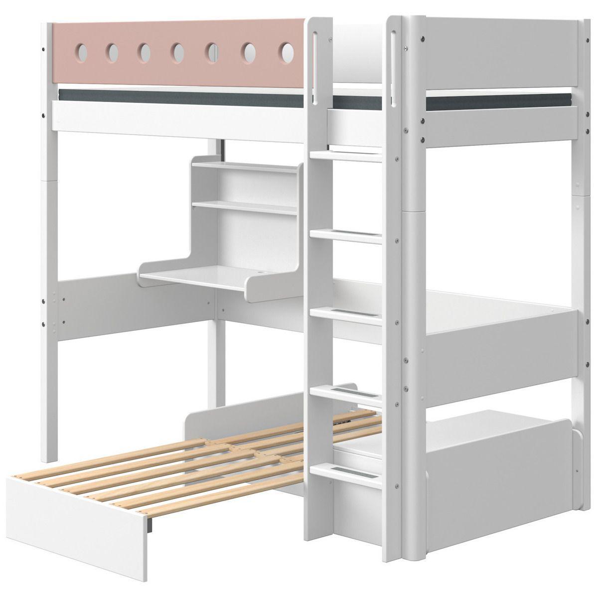 Lit mezzanine 90x190cm échelle droite bureau Click-On module de couchage casa WHITE Flexa blanc-light rose