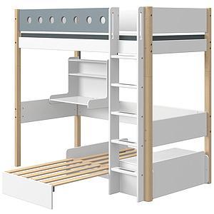 Lit mezzanine 90x190cm échelle droite bureau Click-On module de couchage casa WHITE Flexa naturel-light blue