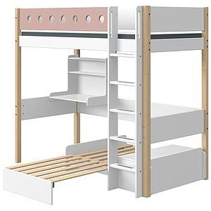 Lit mezzanine 90x190cm échelle droite bureau Click-On module de couchage casa WHITE Flexa naturel-light rose