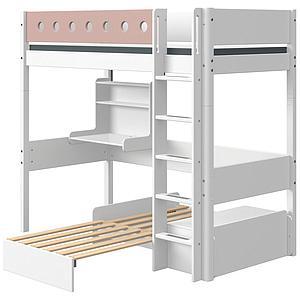 Lit mezzanine 90x200cm échelle droite bureau Click-On module de couchage casa WHITE Flexa blanc-light rose