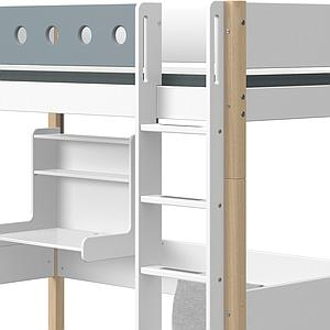 Lit mezzanine 90x200cm échelle droite bureau Click-On module de couchage casa WHITE Flexa naturel-light blue