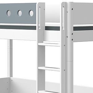 Lit mezzanine 90x200cm échelle droite WHITE Flexa blanc-light blue