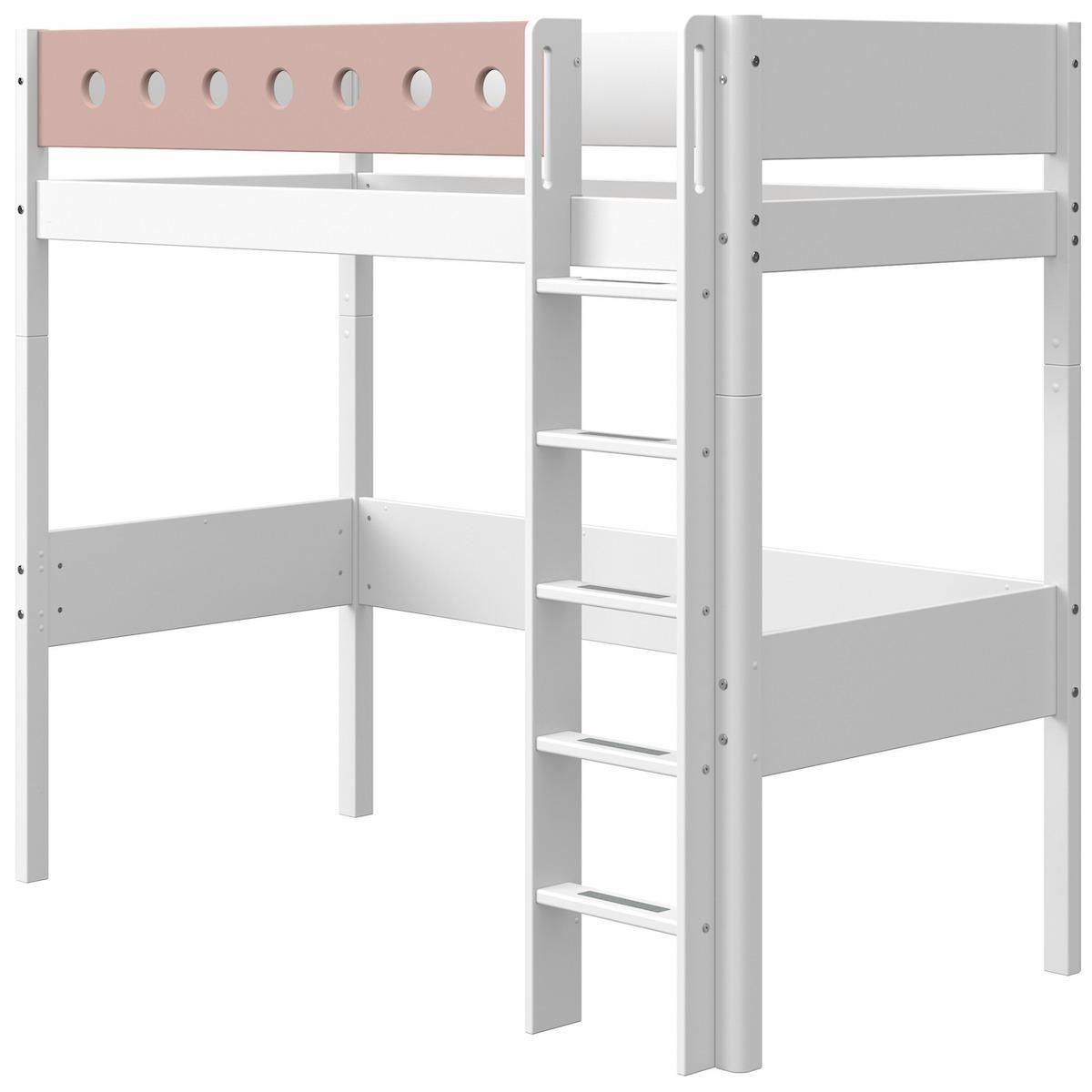 Lit mezzanine 90x200cm échelle droite WHITE Flexa blanc-light rose