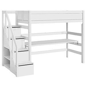 Lit mezzanine 90x200cm escalier Lifetime blanc
