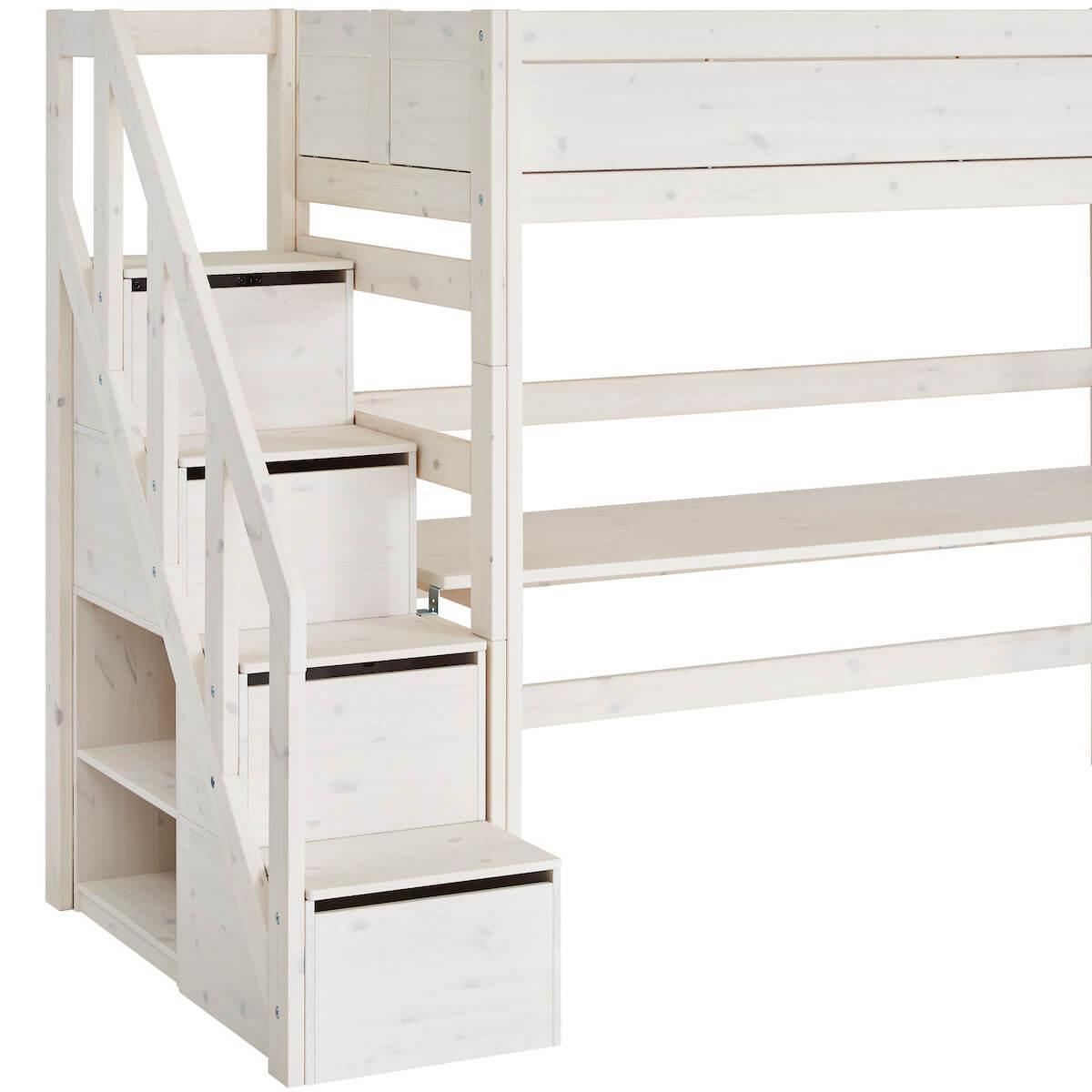 Lit mezzanine 90x200cm escalier Lifetime whitewash