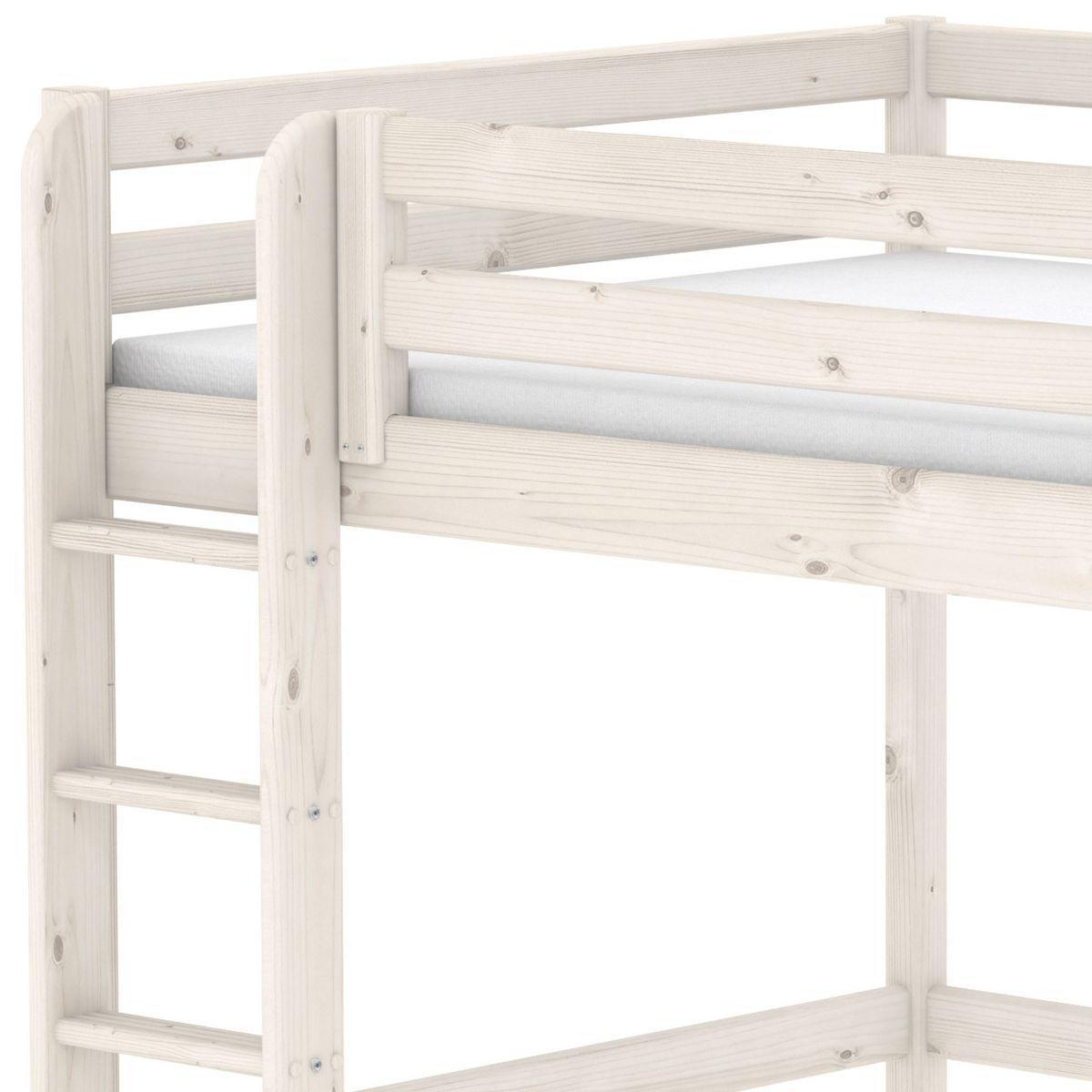 Lit mezzanine enfant 140x200 CLASSIC FLEXA échelle droite blanchi
