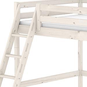 Lit mezzanine enfant 140x200 CLASSIC FLEXA échelle inclinée blanchi