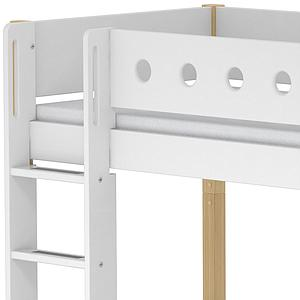 Lit mezzanine enfant 90x190 WHITE Flexa avec barrière blanche, pied bouleau, module de couchage, bureau click-on