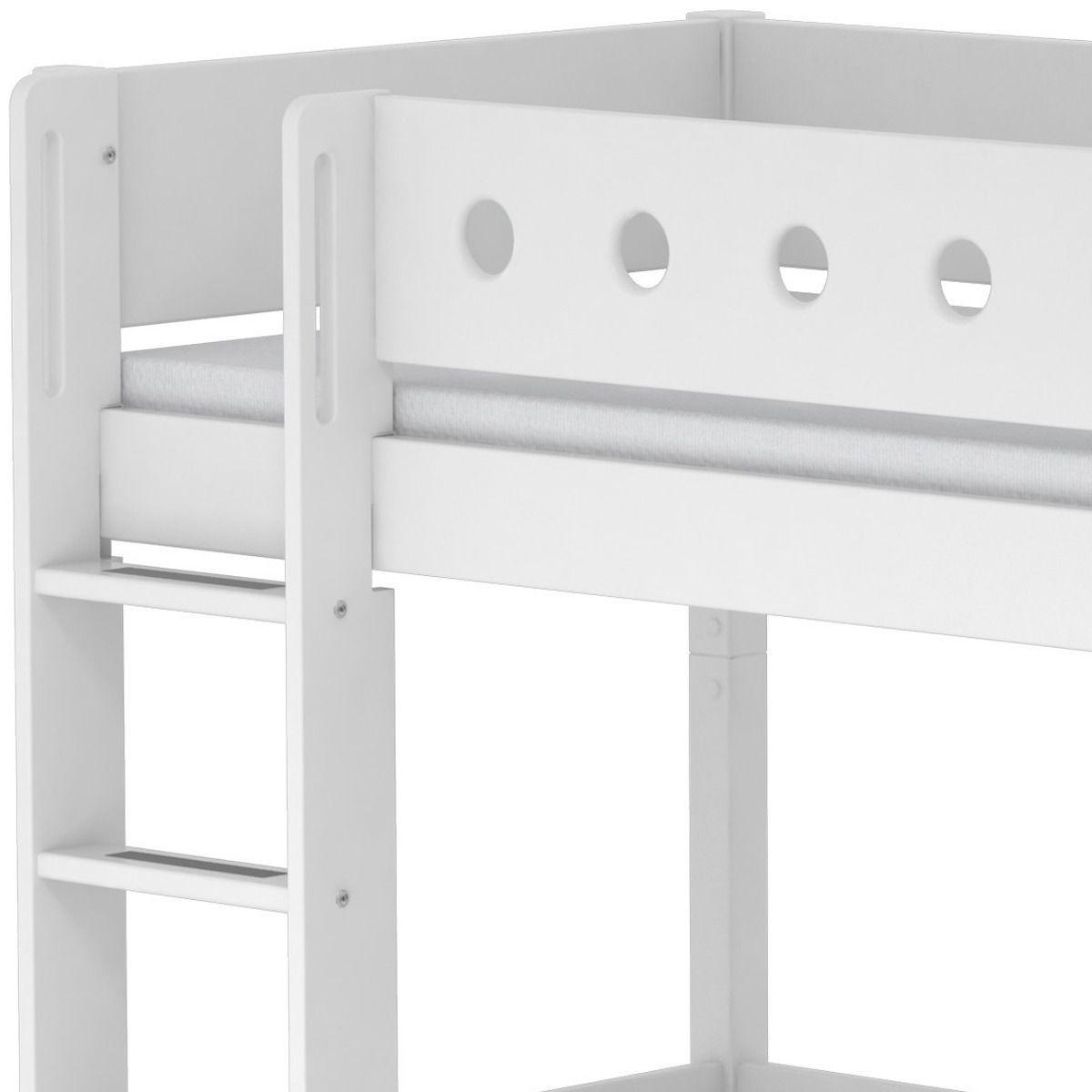 Lit mezzanine enfant 90x200 WHITE Flexa avec barrière blanche, pied blanc, module de couchage, bureau click-on