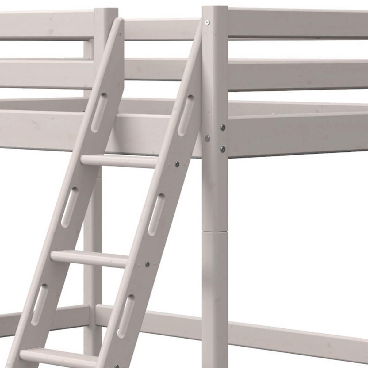 Lit mezzanine haut 140x190cm échelle inclinée CLASSIC Flexa grey washed
