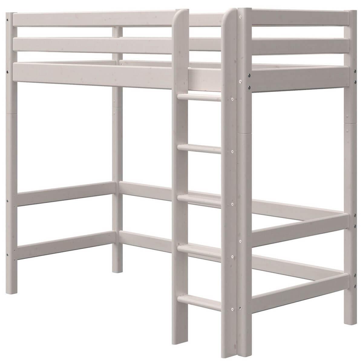 Lit mezzanine haut 90x190cm échelle droite CLASSIC Flexa grey washed