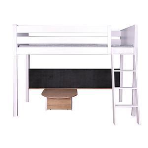 Lit mezzanine haut-tableau-table  KASVA hêtre massif laqué blanc