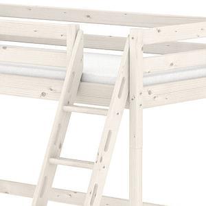 Lit mezzanine Line 90x190 cm + échelle inclinée avec poignées + rambarde blanche by Flexa