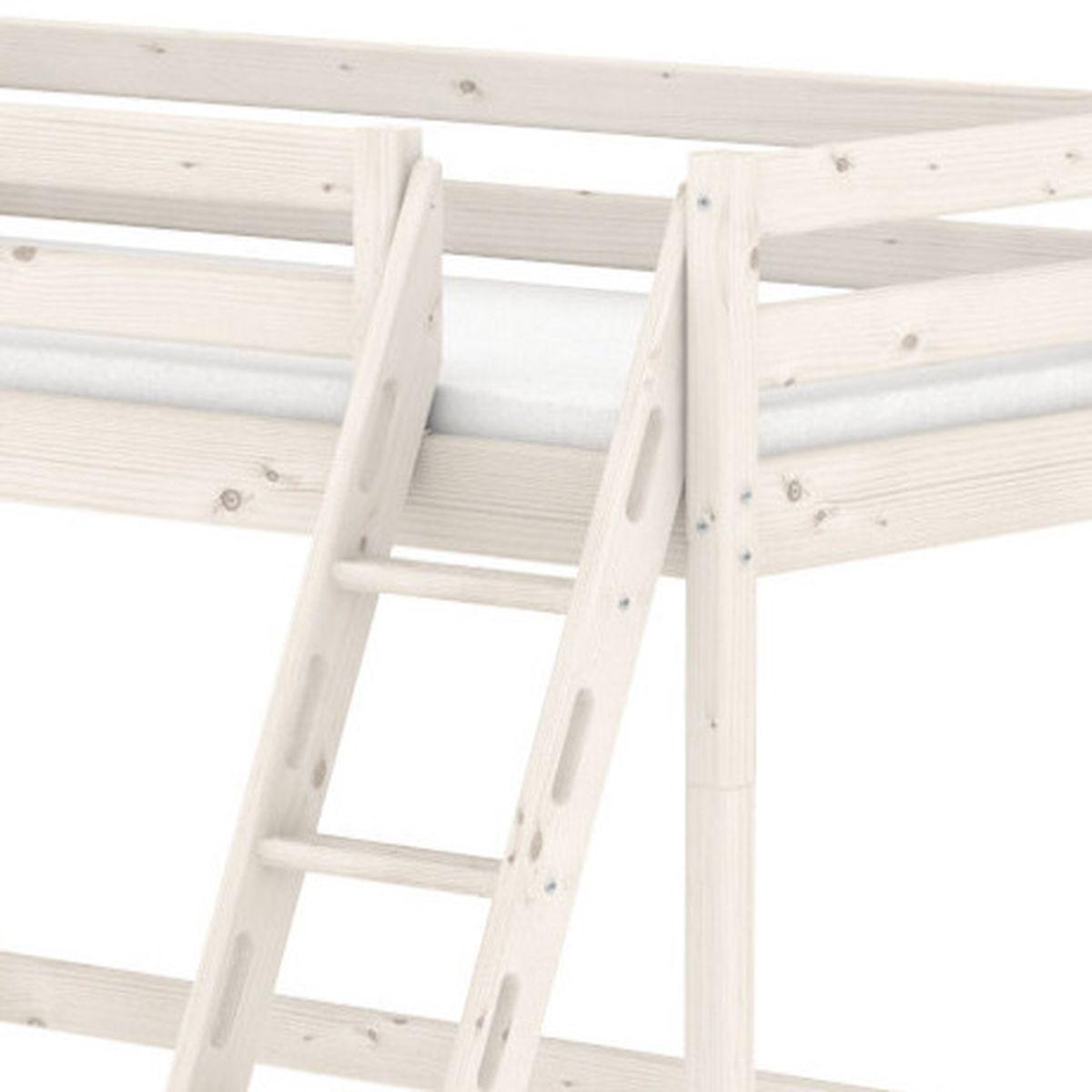 Lit mezzanine Line 90x200 cm + échelle inclinée avec poignées + rambarde blanche by Flexa