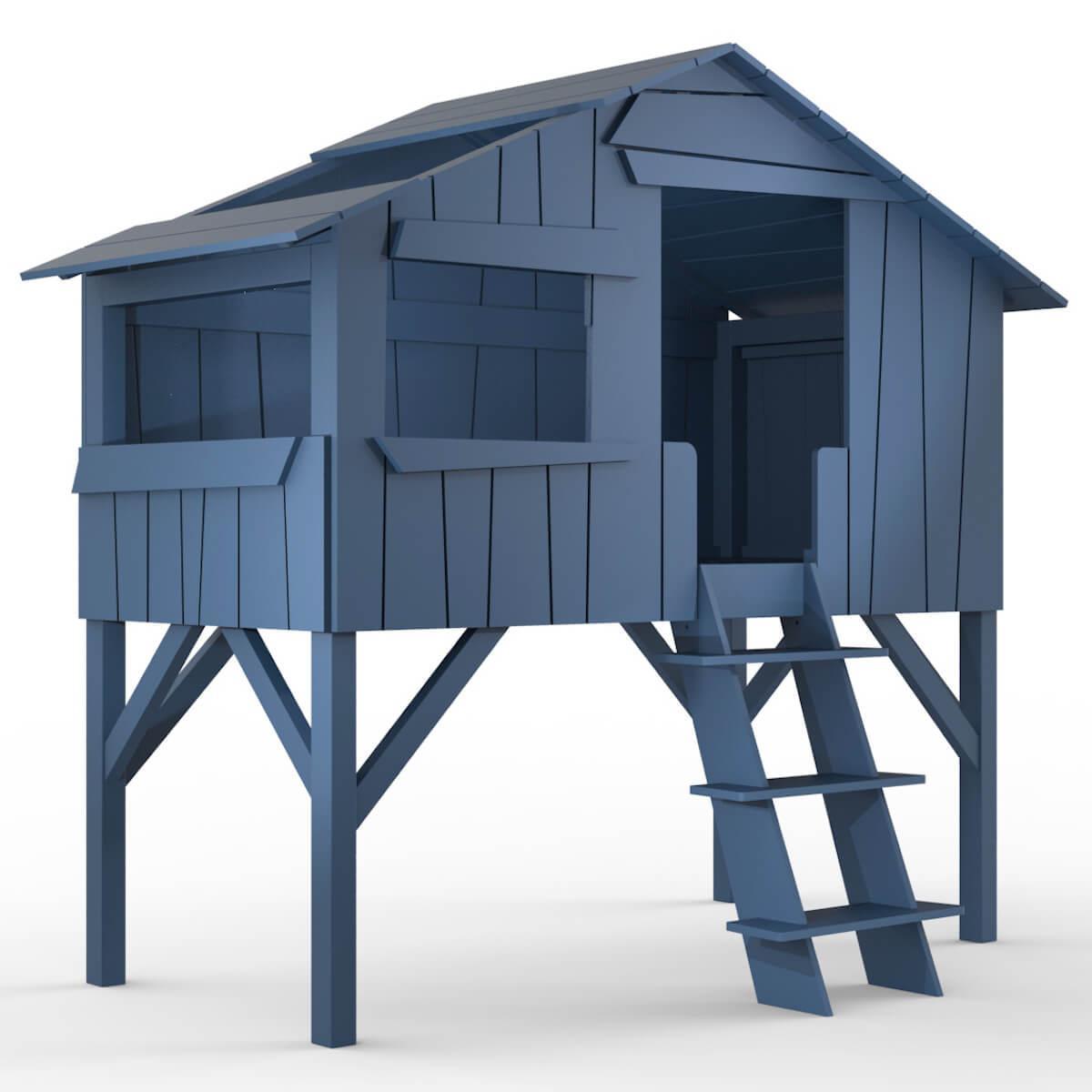 Lit mi hauteur 90x190cm CABANE Mathy by Bols bleu atlantique