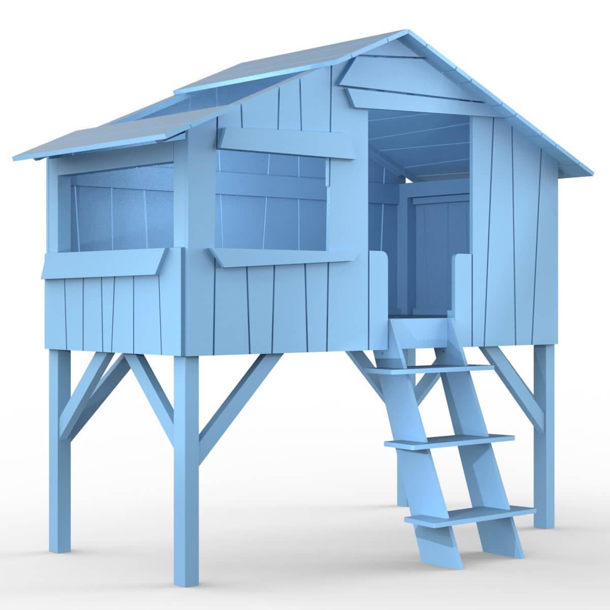 Lit mi hauteur 90x190cm CABANE Mathy by Bols bleu azur