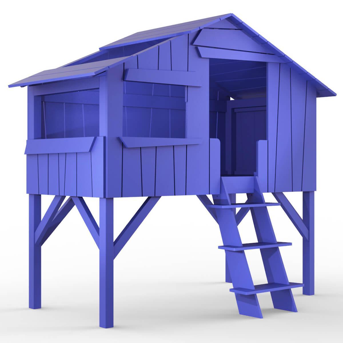 Lit mi hauteur 90x190cm CABANE Mathy by Bols bleu marseille