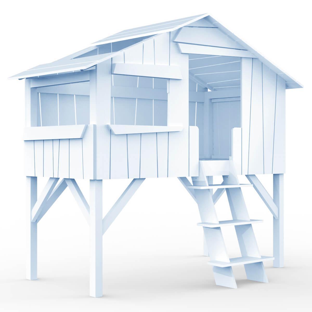 Lit mi hauteur 90x190cm CABANE Mathy by Bols bleu poudré