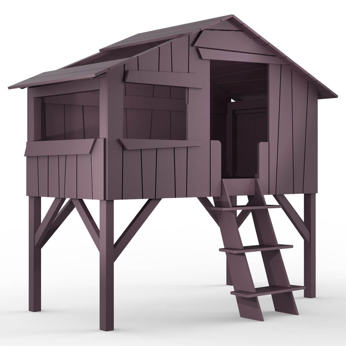 Lit mi hauteur 90x190cm CABANE Mathy by Bols violet cuberdon