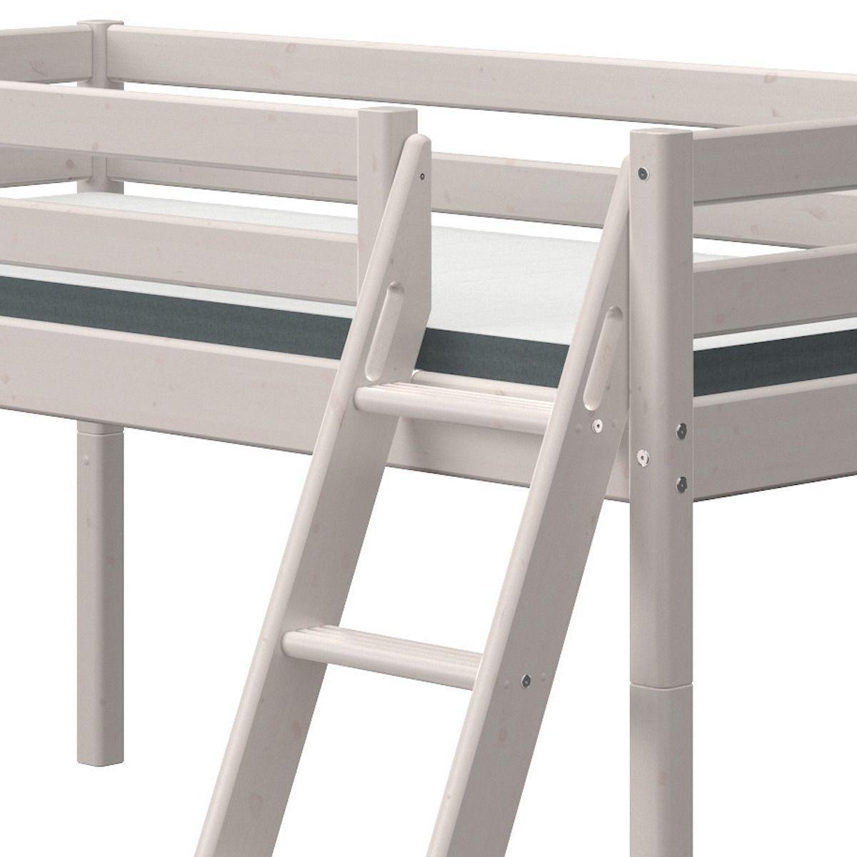 Lit mi hauteur 90x190cm échelle inclinée toboggan CLASSIC Flexa grey washed