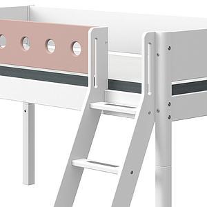 Lit mi hauteur 90x190cm échelle inclinée toboggan WHITE Flexa blanc-light rose