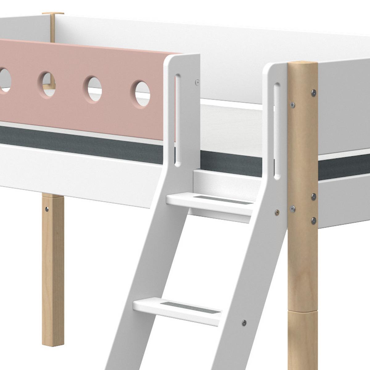 Lit mi hauteur 90x190cm échelle inclinée toboggan WHITE Flexa naturel-light rose