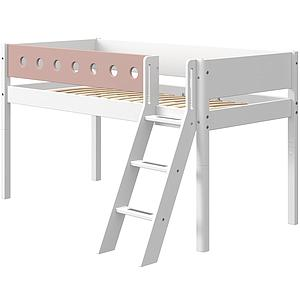 Lit mi hauteur 90x190cm échelle inclinée WHITE Flexa blanc-light rose