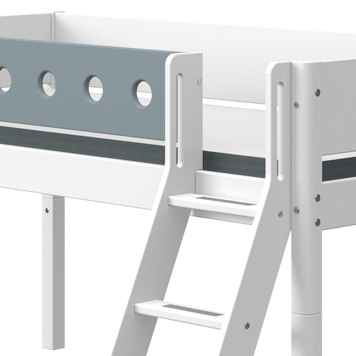 Lit mi hauteur 90x200cm échelle inclinée toboggan WHITE Flexa blanc-light blue
