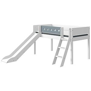 Lit mi hauteur 90x200cm échelle inclinée toboggan WHITE Flexa blanc-light blue