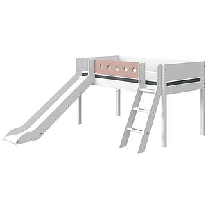 Lit mi hauteur 90x200cm échelle inclinée toboggan WHITE Flexa blanc-light rose