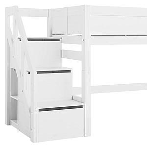 Lit mi hauteur 90x200cm escalier Lifetime Blanc