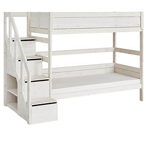 Lit mi hauteur 90x200cm escalier Lifetime whitewash